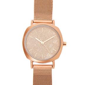 Rose Gold Mesh Classic Watch,