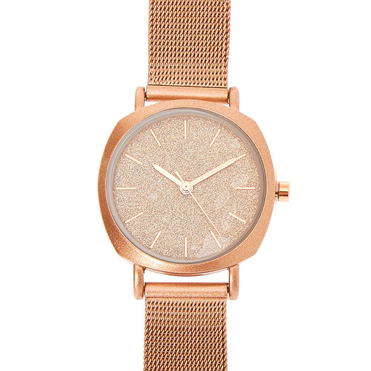 Rose Gold Mesh Classic Watch,