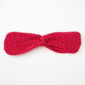 Polka Dot Pleated Knotted Headwrap - Fuchsia,