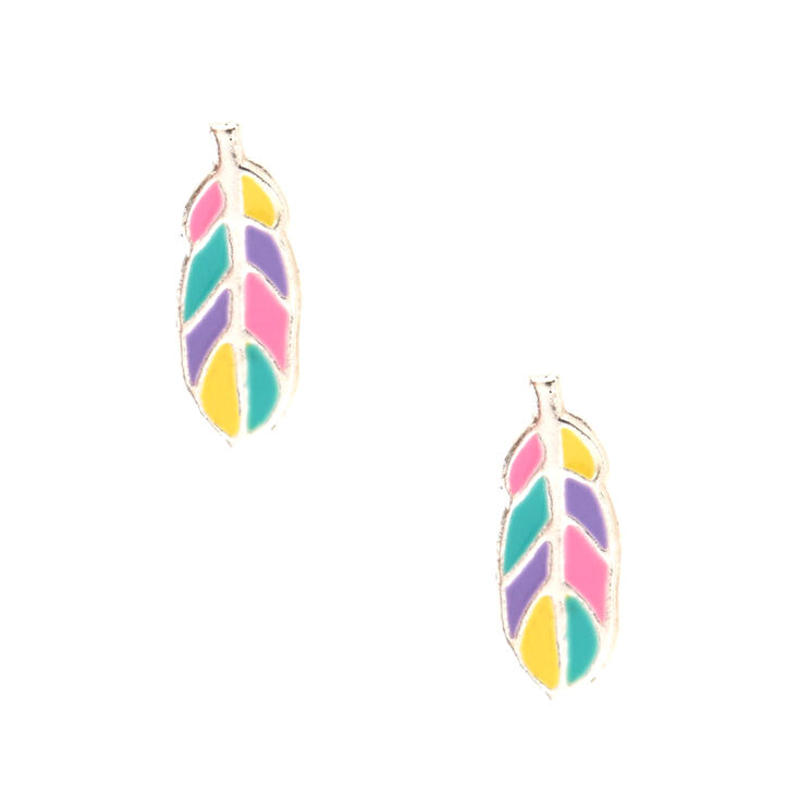 Sterling Silver Rainbow Feather Earrings,