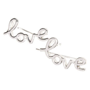 Silver Tone Love Ear Crawlers,