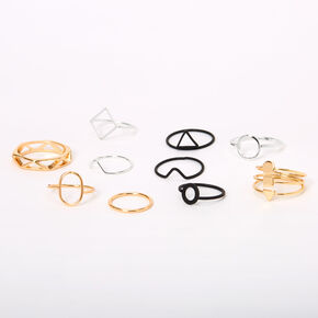 Mixed Metal Geometric Rings - 10 Pack,