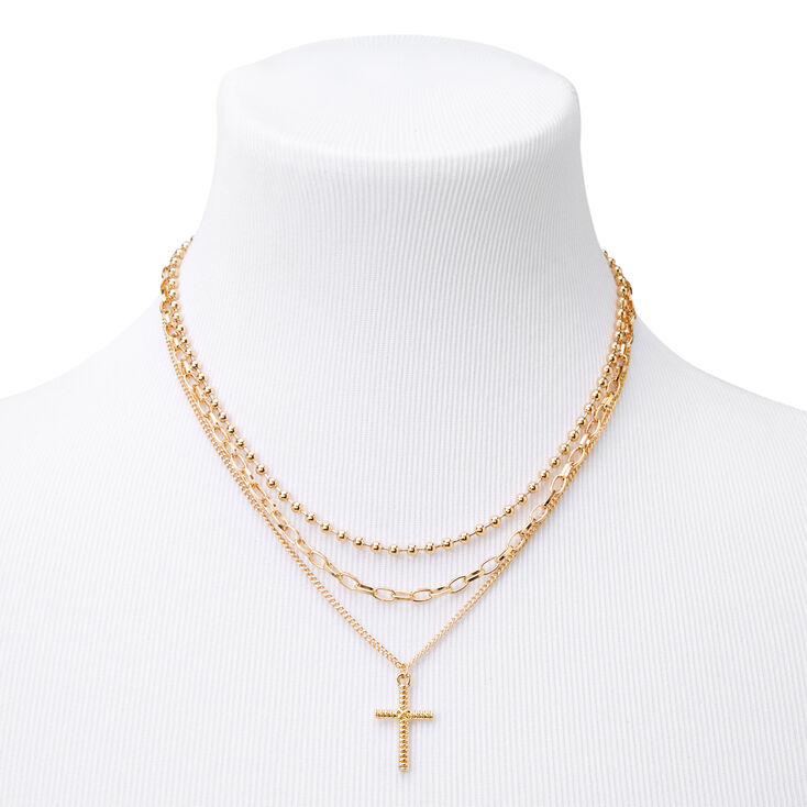 Gold Cross Pendant & Chain Necklaces - 3 Pack,