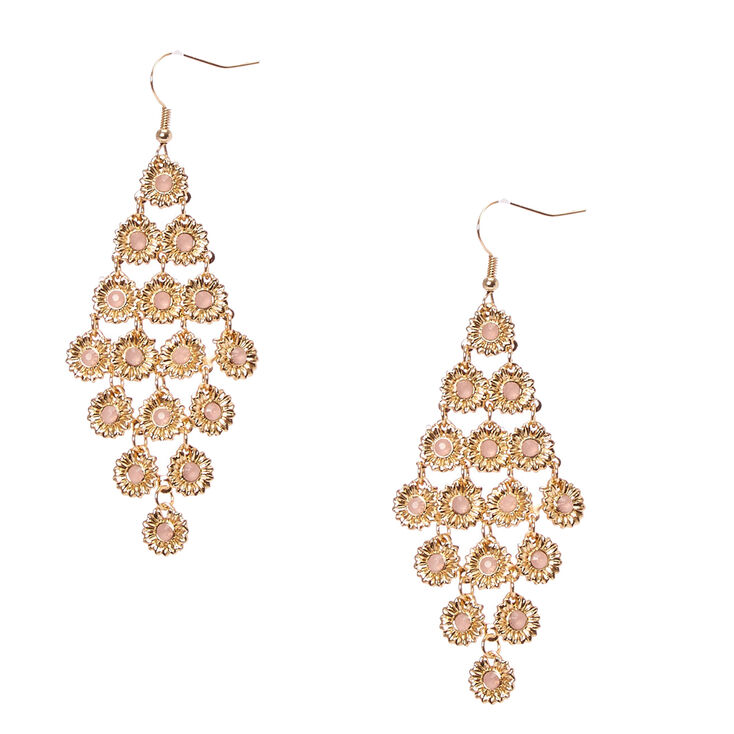 Gold-Tone Sunflower Drop Earrings,