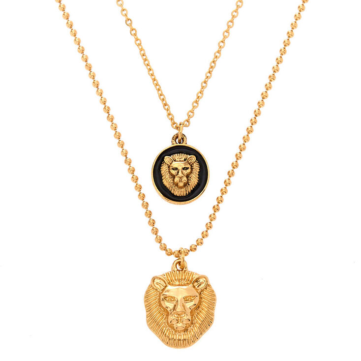 Gold Lion Pendant Necklaces - 2 Pack,