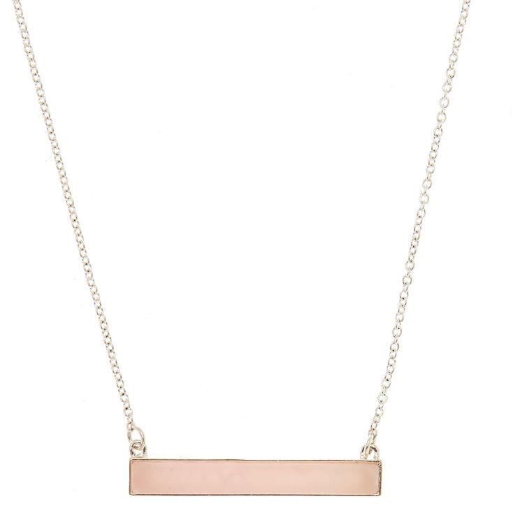 Rose Quartz Bar Pendant Necklace,