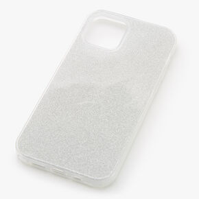 Silver Glitter Protective Phone Case - Fits iPhone 12/12 Pro,