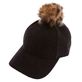 Faux Suede Baseball Hat with Leopard Pom,