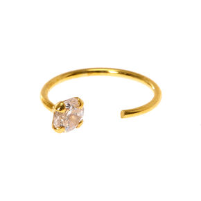 Sterling Silver Gold Open Crystal Hoop Nose Ring,