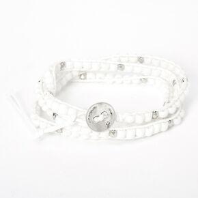 Beaded Wrap Bracelet - White,
