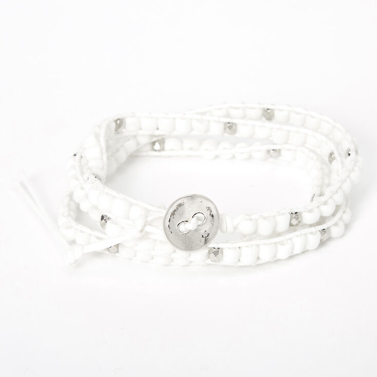 Beaded Wrap Bracelet - White,