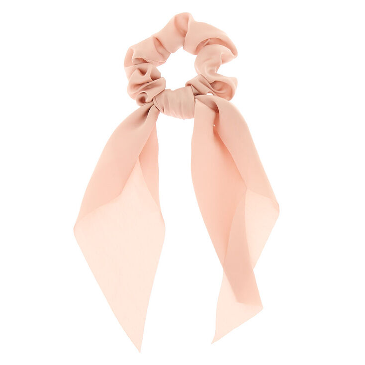 Small Hair Scrunchie Scarf - Nude,