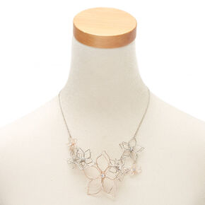 Mixed Metal Wire Floral Statement Necklace,