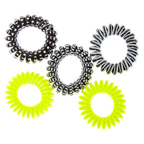 Neon Monochrome Mini Spiral Hair Ties - Yellow, 5 Pack,