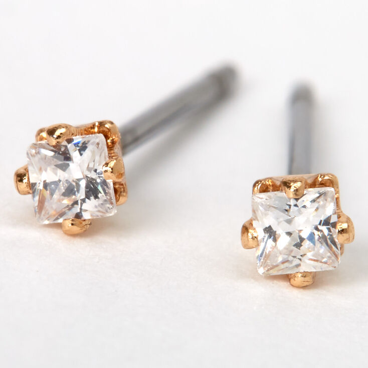 Gold Cubic Zirconia Square Stud Earrings - 2MM,