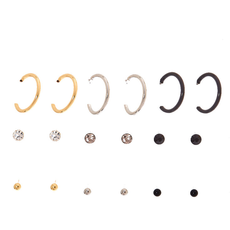 Black, Gold, & Silver Classic Stud & Mini Hoop Earrings,