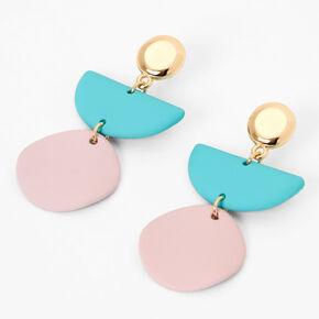 """Gold 1.5"""" Pastel Wavy Geometric Drop Earrings,"""