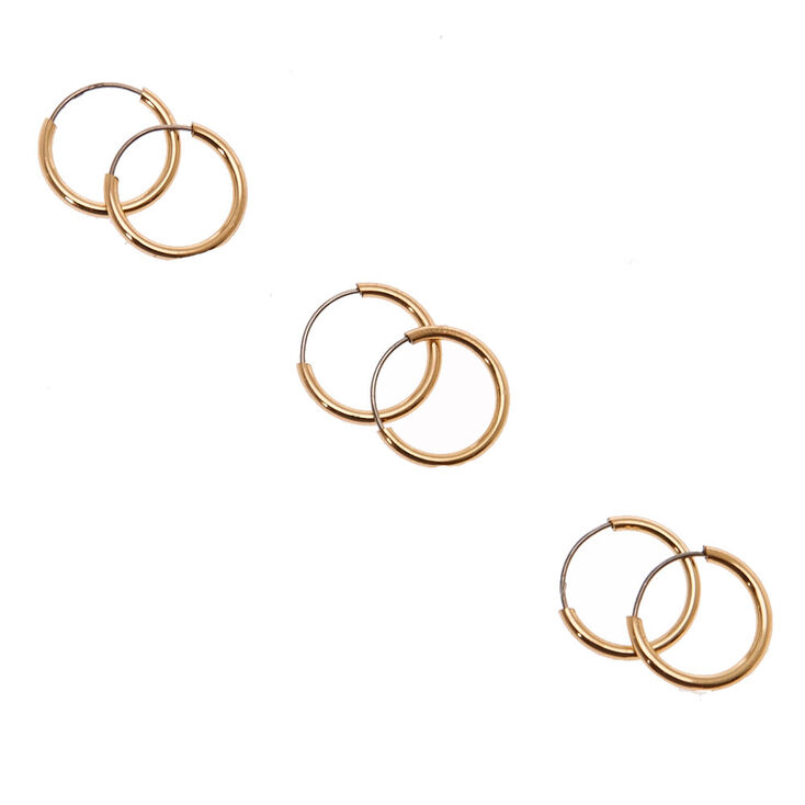 Gold 10MM Skinny Hoop Earrings - 3 Pack,