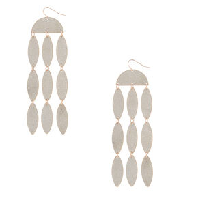 "Silver 4"" Glitter Drop Earrings,"