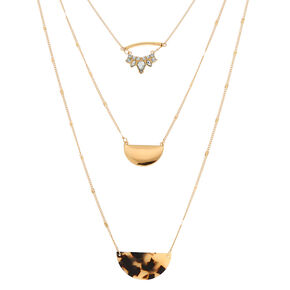 Gold Tortoiseshell Multi Strand Necklace - Brown,