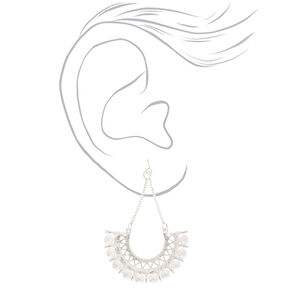 Silver Pearl Fan Drop Earrings,