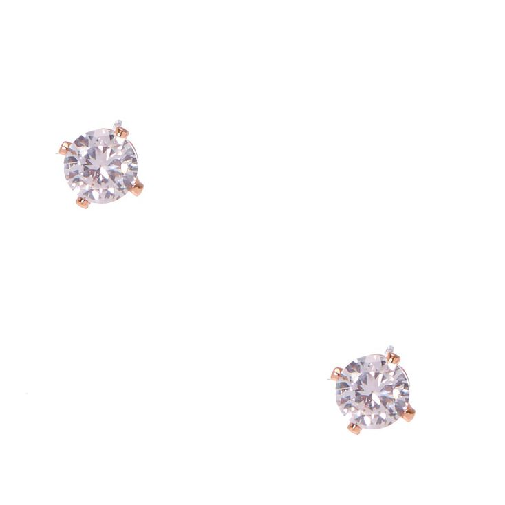 4MM Rose Gold Framed Cubic Zirconia Stud Earrings,