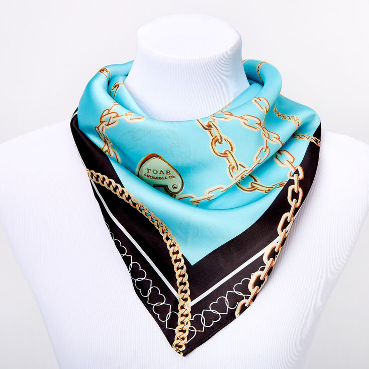 Square Chain Link Hearts Satin Fashion Scarf - Teal,