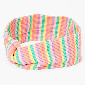 Rainbow Striped Ribbed Knotted Headwrap,