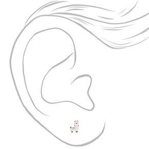 Sterling Silver Llama Stud Earrings - White,