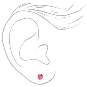 Sterling Silver Swarovski® Elements Heart Stud Earrings - Pink,