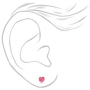 Sterling Silver Swarovski® Elements Heart Stud Earrings - Pink,