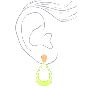 "Gold 2.5"" Teardrop Drop Earrings - Neon Yellow,"