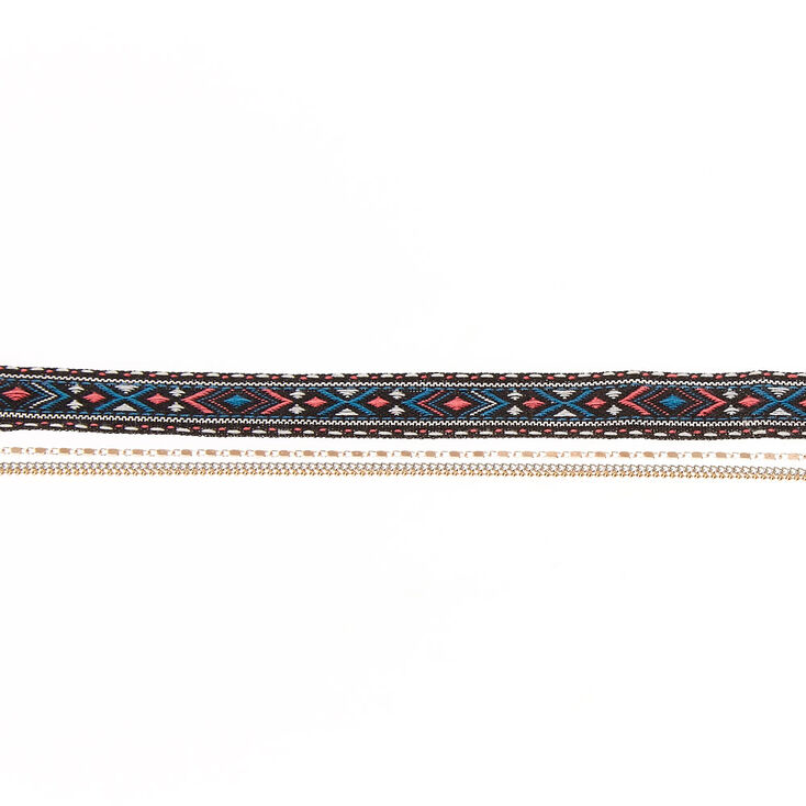 Aztec Tapestry Multi Chain Choker Necklace,