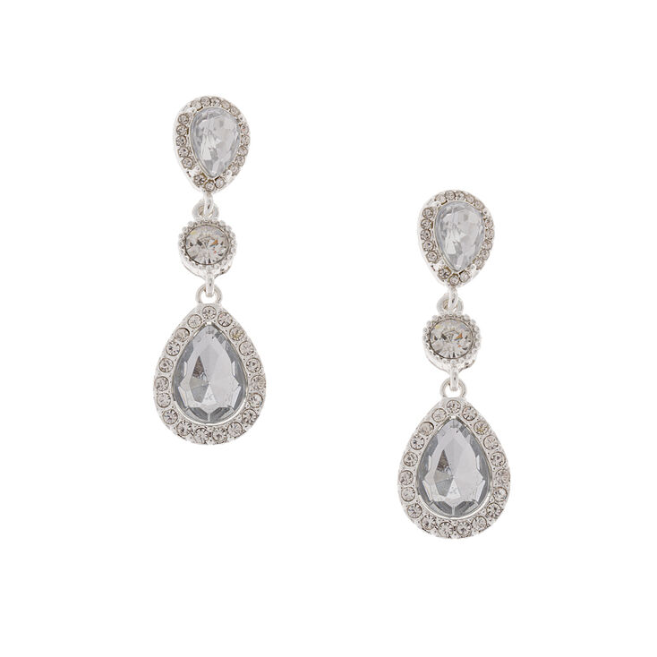 Rhinestone Framed Crystal Teardrops & Rounds Drop Earrings,