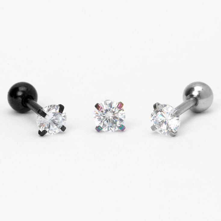 Anodized, Black & Silver Cubic Zirconia Cartilage Stud Earrings - 3 Pack,
