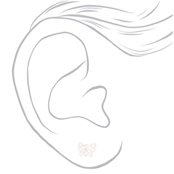 Mixed Metal Butterfly Stud Earrings - 9 Pack,