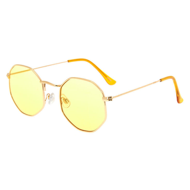 1960s Sunglasses | 70s Sunglasses, 70s Glasses Icing Octagonal Sunglasses - Yellow $12.99 AT vintagedancer.com