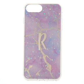 Lilac Marble Glitter Initial Phone Case - R,