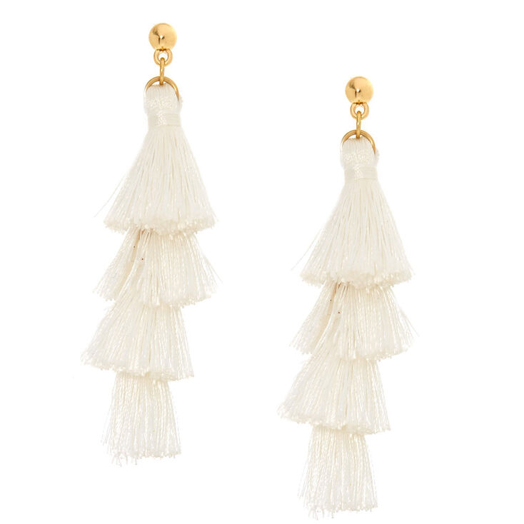 White Tiered Tassel Drop Earrings,