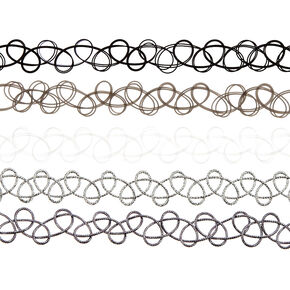 Black & White Tattoo Choker 5 Pack,