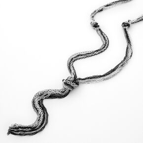 Mixed Metal Knotted Rope Long Necklace,