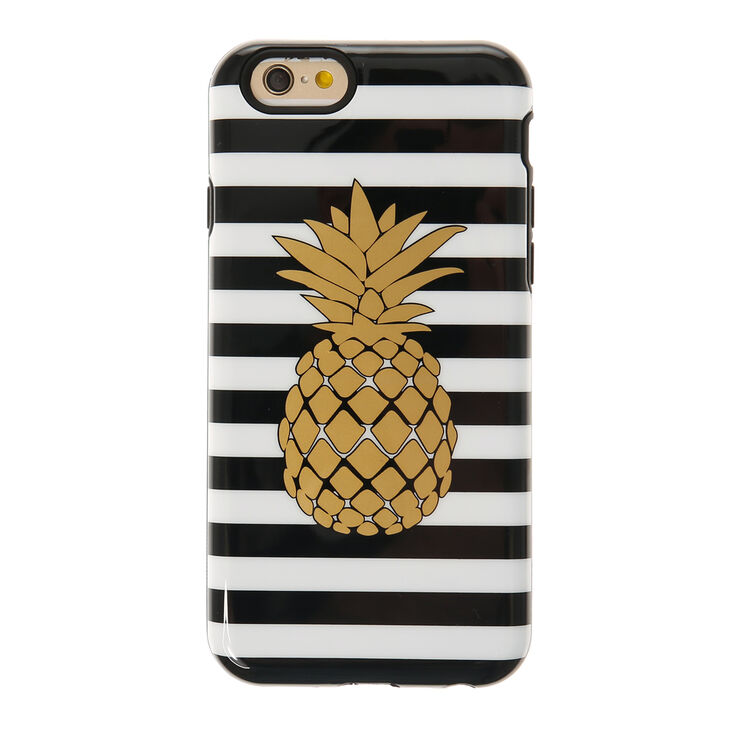 Metallic Gold Pineapple & Stripped Phone Case  - Fits iPhone 6/7/8,