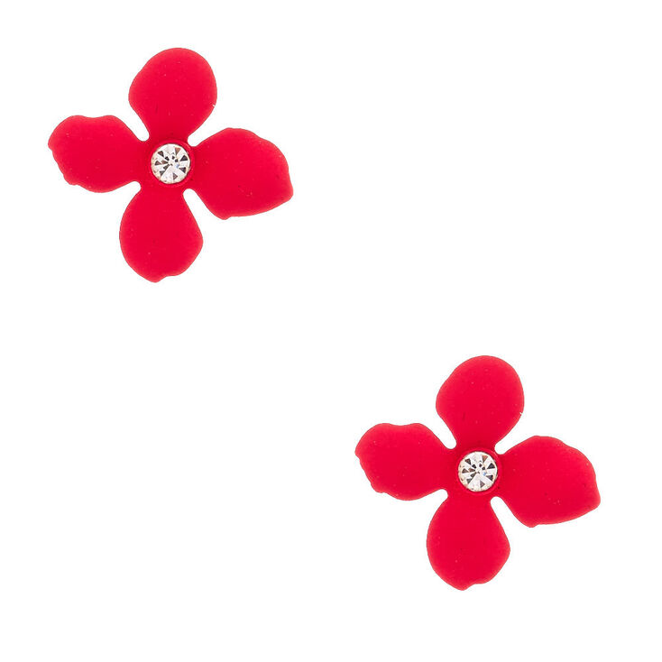Silver Flower Stud Earrings - Pink,