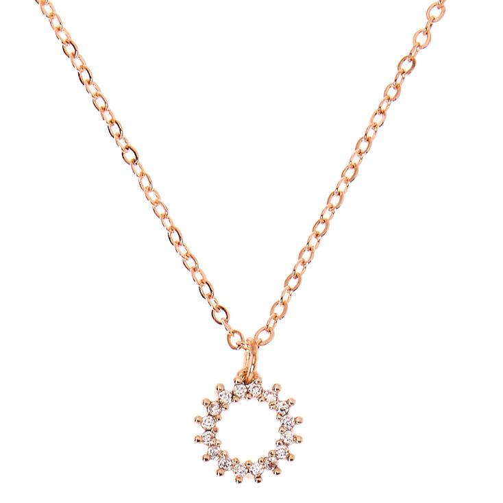 Rose Gold Cubic Zirconia Burst Pendant Necklace,