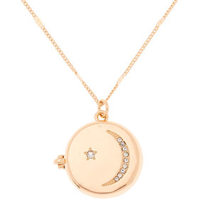 Gold Celestial Long Locket Pendant Necklace,