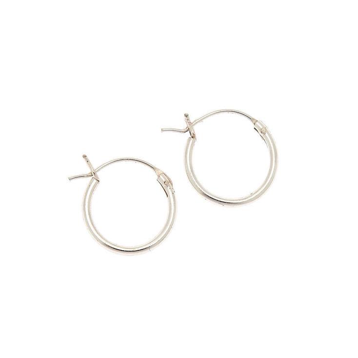 Sterling Silver 12MM Hinged Hoop Earrings,