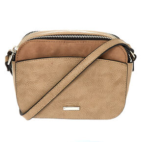 Faux Leather Camera Crossbody Bag - Tan,