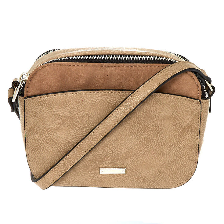 Faux Leather Camera Crossbody Bag - Tan,