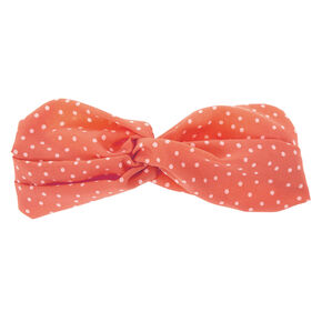 Polka Dot Twisted Headwrap - Peach,