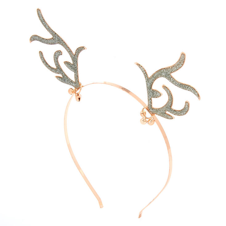 Rose Gold Glitter Antlers Headband,